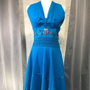 Handmade Embroidered Blue Dress